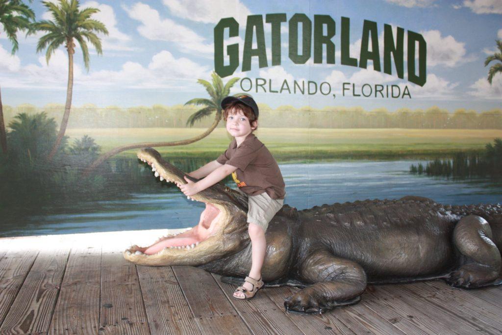 Mutiger Junge im Gatorland, Orlando, Florida