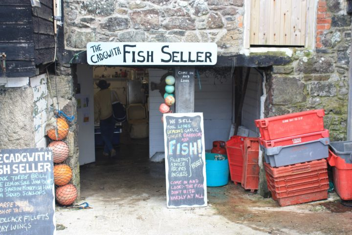 Fischhändler in Cadgwith, Cornwall