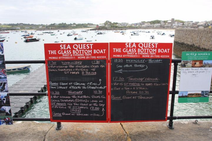 Signs at the port of St. Mary's Isles of Scilly